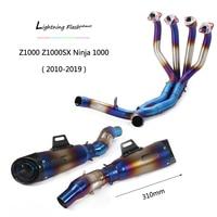 Half Blue Full Exhaust System for Kawasaki 2010 2019 Z1000 Ninja 1000 Slip On Motorcycle Header Mid Tail Escape No DB Killer