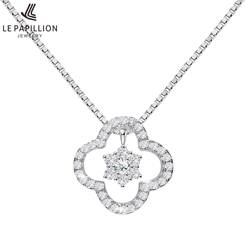 LEPAPILLION Real 925 Sterling Silver Necklace For Women Fine Jewelry Classic Zircon Four Leaf Clover Pendant Necklace Collares trendy four leaf clover shape pendant necklace for women