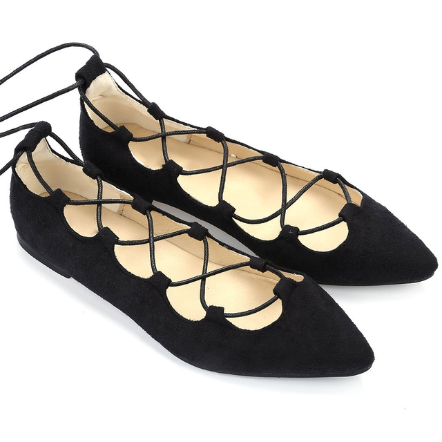 34f2065d234f Women Flats Shoes Spring Autumn Vintage Ladies Oversize Antiskid Pointed  Toe Cross Strappy Flat Shoes