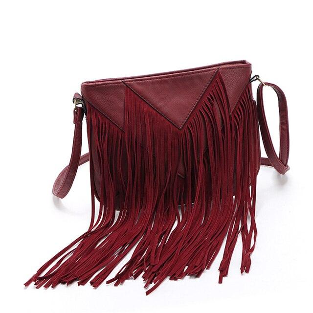 New List Product Women Fringe Tassels Bag Black Leather Shoulder Handbag Charm Beach Las Messenger Tassel