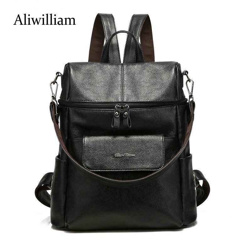 Aliwilliam Backpack Women Genuine Leather Bag Women Bag Cow Leather Women Backpack Mochila Feminina School Bags for Teenage стоимость