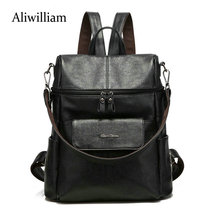 Aliwilliam Backpack Women Genuine Leather Bag Women Bag Cow Leather Women Backpack Mochila Feminina School Bags