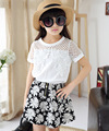 2016 Summer Teenager Children girl clothing Sets  Lace Flower Short sleeve T-shirt+Floral skirts girls clothes Suits 4-13Y