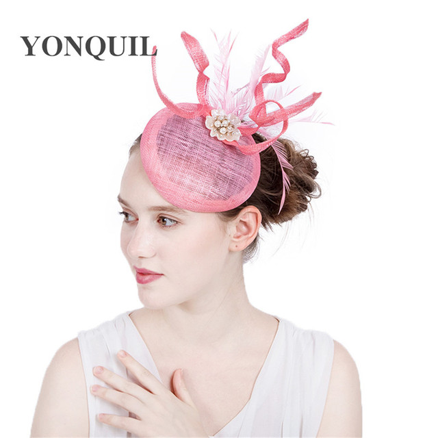 Ladies Fascinators with pearl Racing Season Hats pink Sinamay Wedding Hat  for Cocktail Party Event Occasion High Quality 17color 86d6de96448