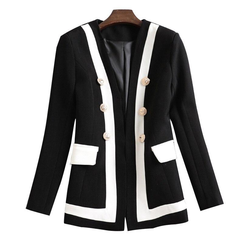 European Station 2019 Women Autumn New Joker Waist Contrast Color Metal Buttons Women Small Suit Black Jacket Women Coat