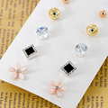 6Pairs/set New Pink Flower Zircon Earrings Set For Women Simulated Pearl Piercing Geometric Ball Stud Earring