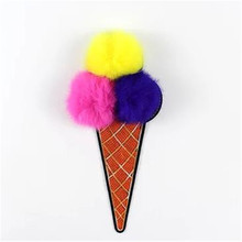 Free shipping sequins patch 24cm ice cream plush ball deal with it iron on patches for clothing 3d t shirt mens, T shirt Women