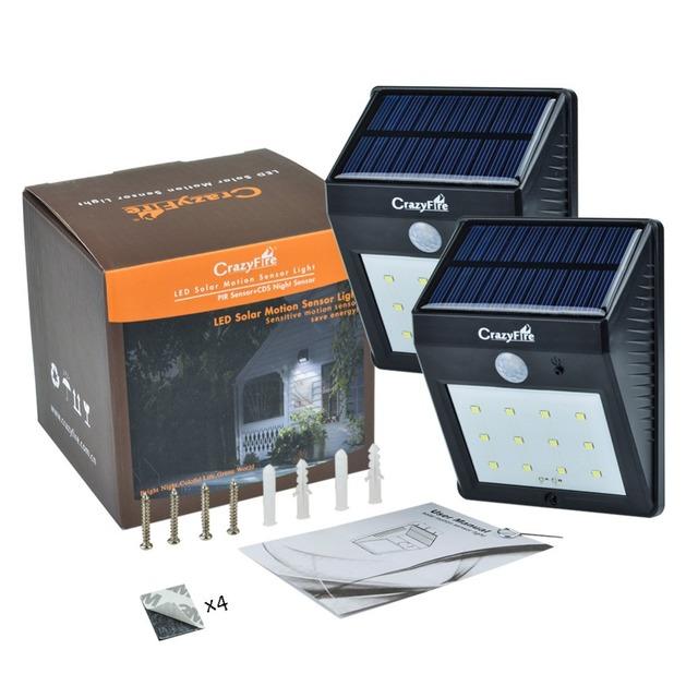 2PCS/LOT Bright 12 LED Solar Powered Lamp PIR Motion Sensor Light Outdoor Waterproof Garden Path Wall Light Solar Lamp Lanternas