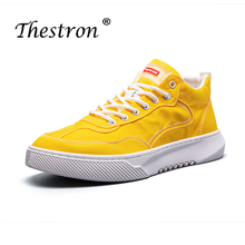 New Trend Mens Fashion Canvas Shoes Yellow Male Walking Casual Shoes High Top Canvas Footwear for Men Rubber Sole Flats Shoes sipriks luxury mens dress shoes unique designer derby shoes handsome sewing welted shoes rubber sole work flats 2018 new style
