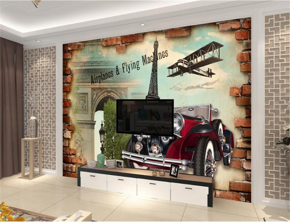custom 3d photo wallpaper living room mural Paris style retro old old vintage car painting TV background non-woven wall sticker book knowledge power channel creative 3d large mural wallpaper 3d bedroom living room tv backdrop painting wallpaper