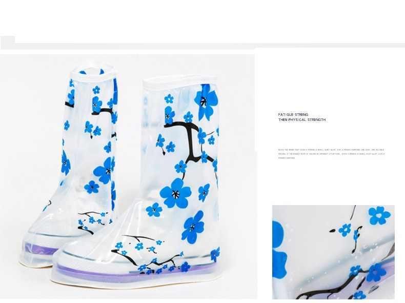 Aleafalling Donne Uomo Impermeabile Blu Bianco Fiore Muffa di Stampa Riutilizzabile Pioggia Cusodie per scarpe Stivale Da Pioggia Usura Anti-skid Coperture SC40