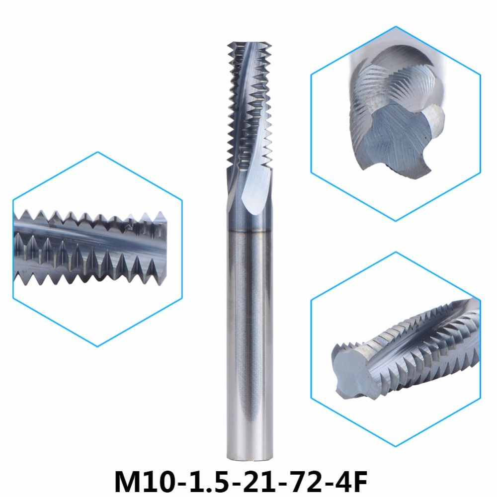 Tungsten Carbide thread end mill M10 thread milling cutters 1pc M10-1.5-21-72-4F with P1.5 TIALN coating Metric 1.5mm Pitch carbide thread end mill m8x1 25 thread mills thread milling cutter with tialn coating