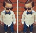 Мальчик в костюм комплект + перевязка деним дети в одежда комплект вилочная часть дети галстук-бабочка длинная - рукав рубашки + джинсы комплект