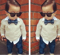 Retail Fashion baby boy's suit set +tie denim children's clothing set handsome male child bow tie long-sleeve shirts+jeans set