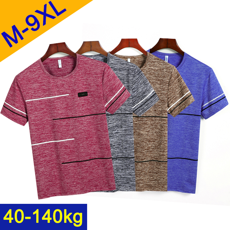 4Pcs 9XL Summer T Shirts Men Clothing Polyester Plus Size 6XL 7XL 8XL Male Tshirts Breathable Short Sleeve Strip Top Tees O-Neck
