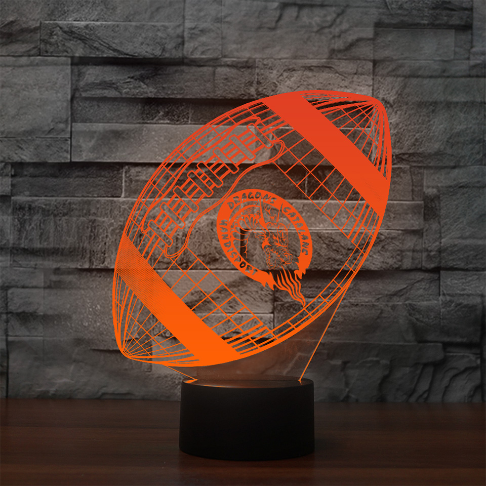 3D Visual Led American Football Nightlight 7 Colors Touch Button Rugby Desk LampUSB Sleep Lighting Home Decor Sports Fans Gifts
