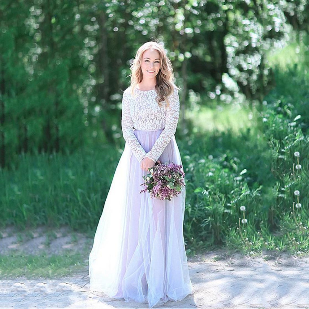 Charming Long Sleeves A-line Bridemaid Dresses Elegant Lace Top Champagne Wedding Party Dress Custom Made