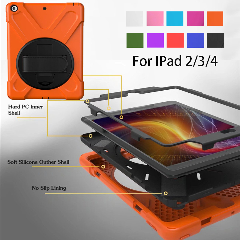For iPad 2 / 3 / 4 Shockproof Kids Protector Case For iPad2/3/4 Heavy Duty Silicone Hard Cover kickstand design Hand brace image