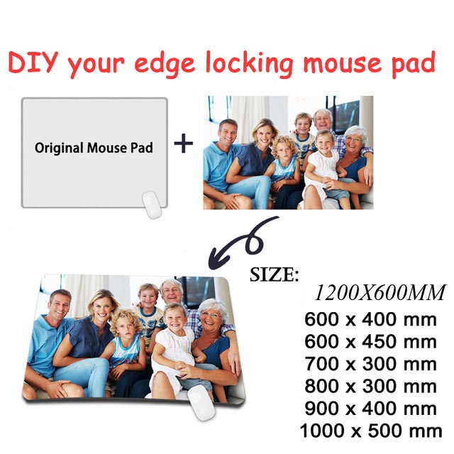 Yuzuoan 1200 600 3MM Custom Waterproof Super Large Mouse Pad Xl Gamer Locking Edge Computer Keyboard