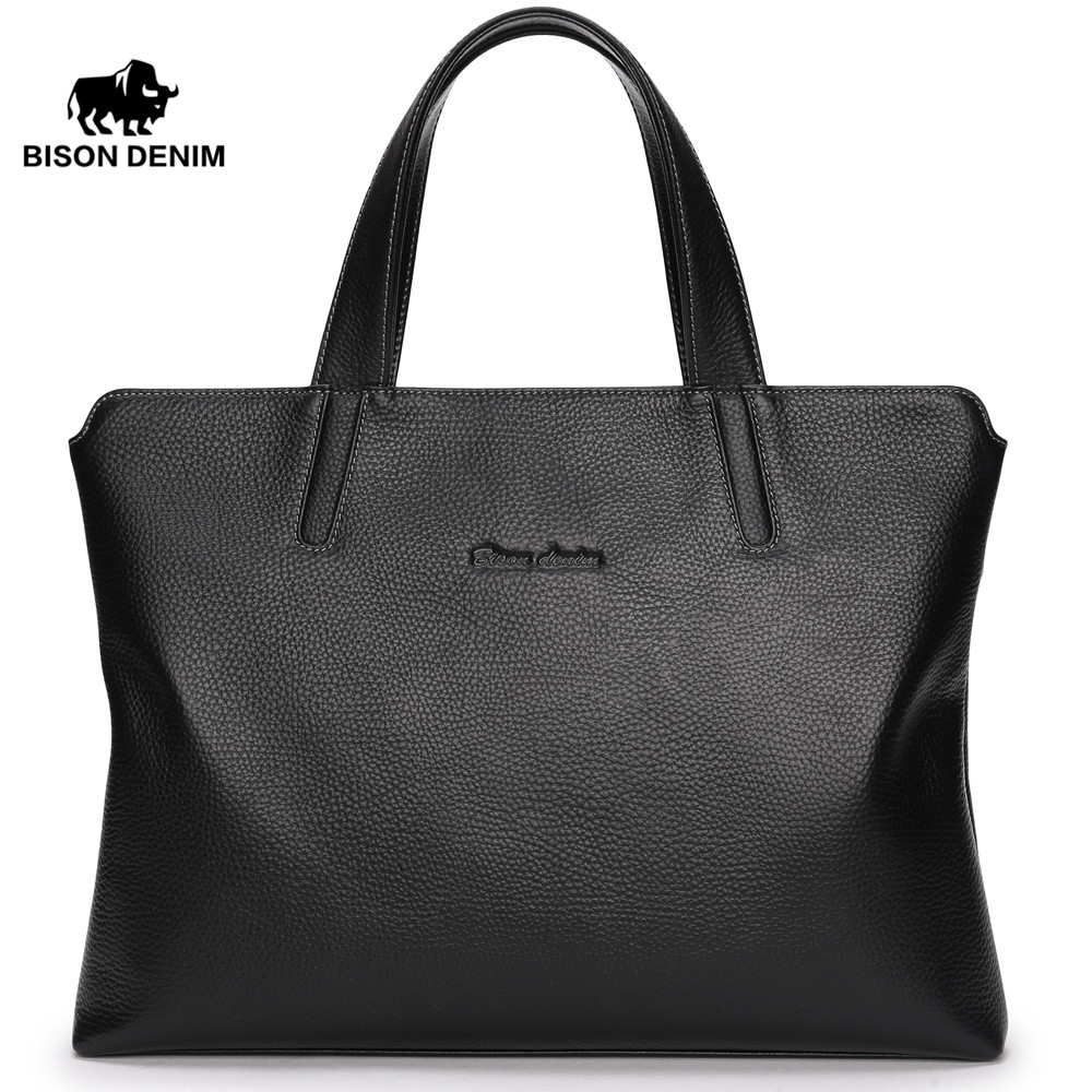 BISON DENIM fashion men bag genuine leather handbags shoulder bags cowhide business brand male briefcase laptop padieoe men s genuine leather briefcase famous brand business cowhide leather men messenger bag casual handbags shoulder bags