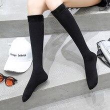 5 Pairs Winter high knee socks women nylon and velvet stockings pure black