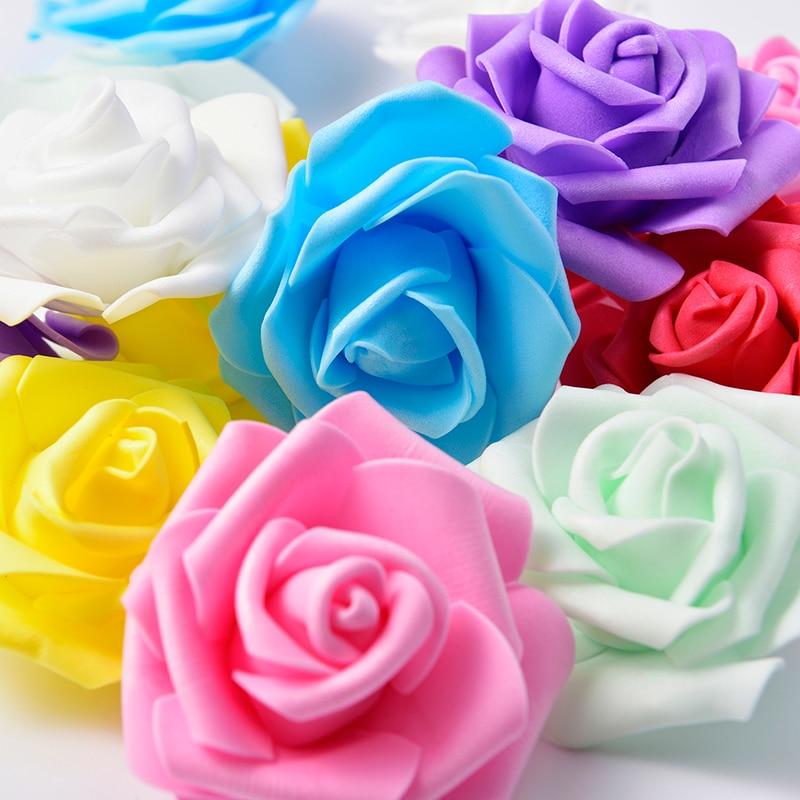 50Pcs 7cm PE Foam Rose Artificial Flower Heads For DIY Wreaths Wedding Event Decoration Home Garden Decorative Supplies Colorful