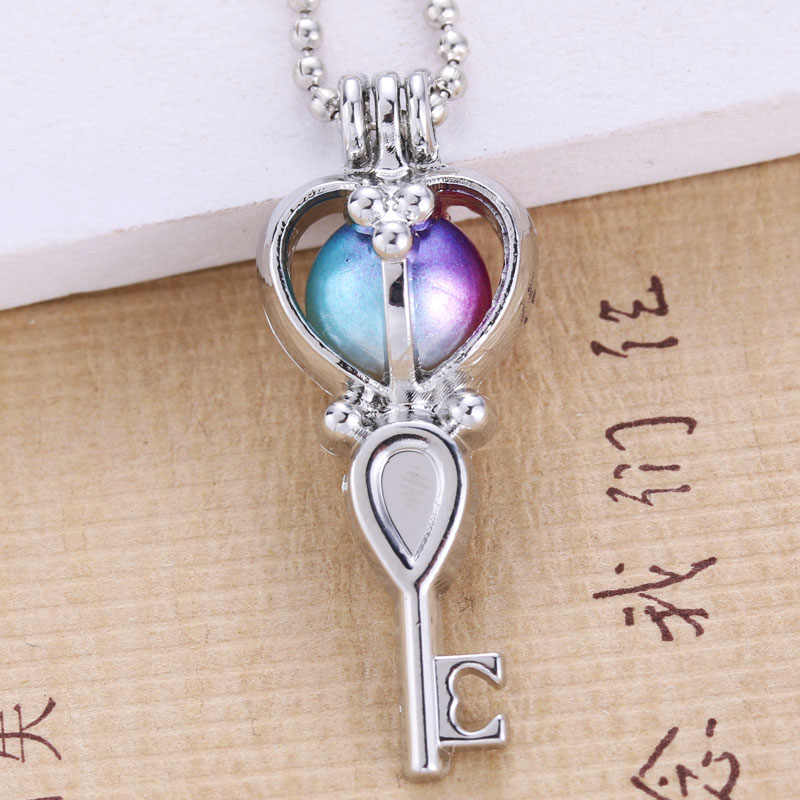 6pcs Silver Love Key Pearl Cage Jewelry Making Bead Cage Pendant Essential Oil Diffuser Locket For Oyster Pearl Fun Gift