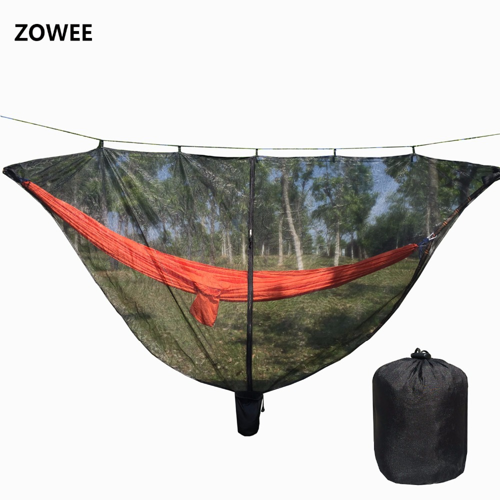 Detachable hammock mosquito net portable outdoor hamac nylon encryption mesh 2 person camping light weight hammock swings 2 people portable parachute hammock outdoor survival camping hammocks garden leisure travel double hanging swing 2 6m 1 4m 3m 2m