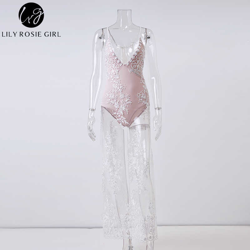 ... Lily Rosie Girl White Deep V Neck Off Shoulder Sexy Mesh Dress Women  Summer Beach Lace fa817f8a8d63
