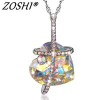 Fashion Austria Crystal Heart Necklace Bling Full Rhinestone Crystal Beads Pendants Necklaces For Women Silver Chain