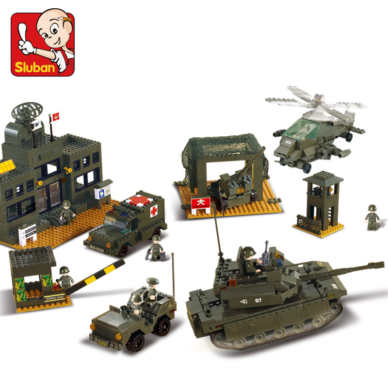 1086Pcs SLUBAN 7100 Military 1086Pcs WW2 Army Headquarters Figure Blocks Compatible Legoe Building Toys For Children sluban military series nuclear submarine and service stations model building blocks toys for children compatible with legoe sets
