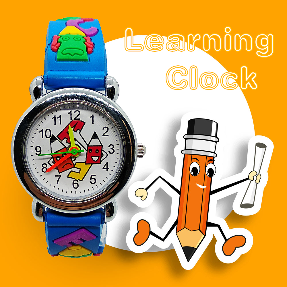 Child's Learning Clock Good Quality Children Watch For Girls Boys Kids Watches Cartoon Pencil Head Digital Quartz Wristwatches