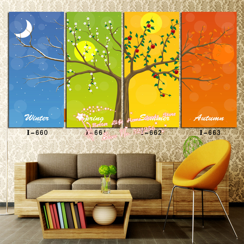Modern wall art home decoration printed oil painting pictures no frame 4 panel happy tree in - Home decor promo code paint ...