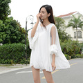 maternity dresses 2016 pregnant women summer new gauze strapless lace trumpet sleeve loose chiffon dress for pregnant women