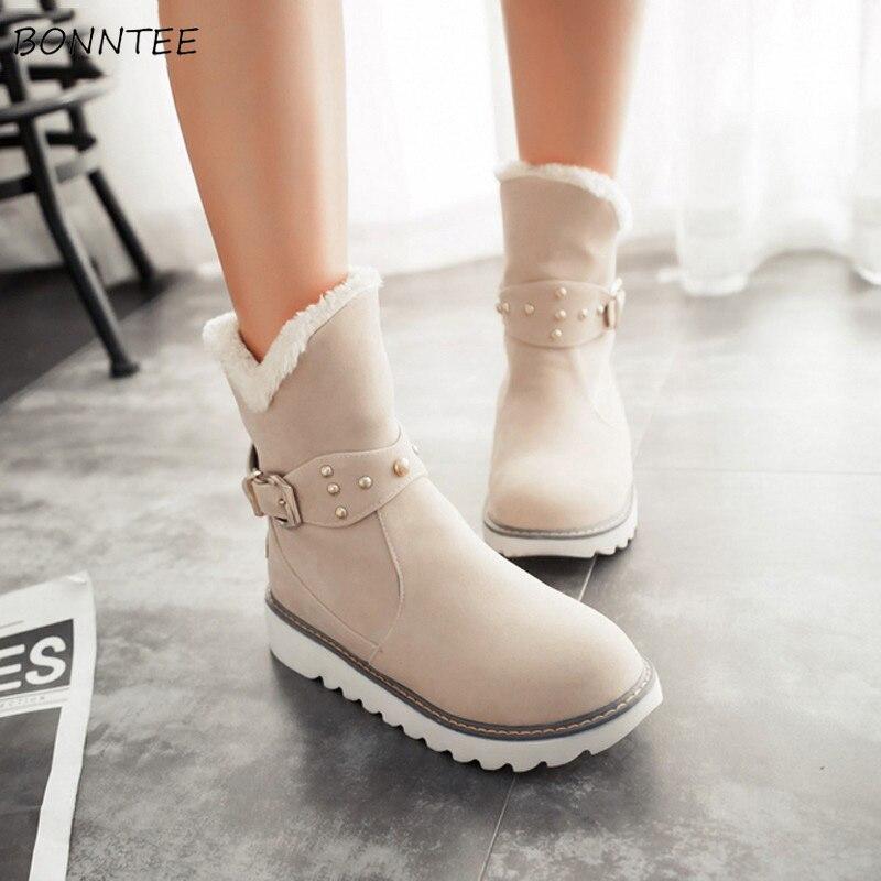 5f0915cdee401 Boucle Épais Sangle De Qualité Casual Australie Hiver Femmes Chaussures  Neige Haute Troupeau Bottes Beige Fond ...