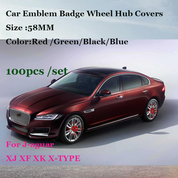Auto Rims Wheels Caps 100pcs/set 58MM car emblem wheel Hub Covers for Jaguar XJ XF XK X-TYPE  Red Black Blue Green logo badge