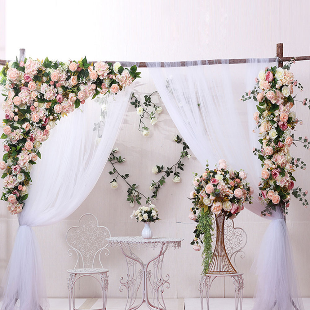 Flor pared 120cm estilo europeo DIY boda escenario decoración flor artificial pared Arco seda Rosa planta mezcla diseño decoración - 2