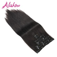Alishow Clip In Remy Human Hair Extensions Full Head Straight 100g 14inch 24inch 7pcs Double Drawn