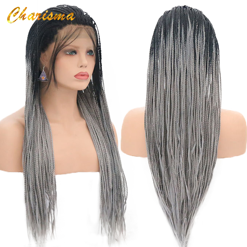Charisma Synthetic Lace Front Wigs Handmade 24'' Braids Wigs With Baby Hair Grey Dark Roots Ombre Color Wigs For Black Women