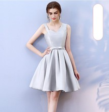 Grey Colour Satin Bridesmaid Dress Above Knee Mini New Women Dresses for Occasions Back of Bandage