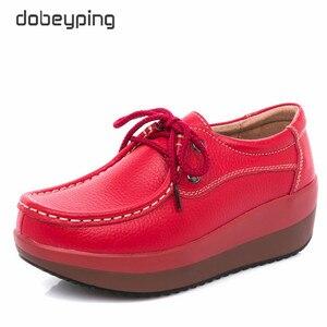 Image 5 - Dobeyping אמיתי עור אישה נעלי פלטפורמה שטוחה נשים נעלי מוקסינים נשים נעלי טריז נקבה סניקרס גבירותיי הנעלה