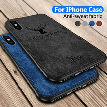 Soft TPU edge Canvas Embossed Deer Phone Case For Iphone X Xs Max Xr 8 7 6 6s S6 Plus Cover On For Apple I Phone 8plus 7plus