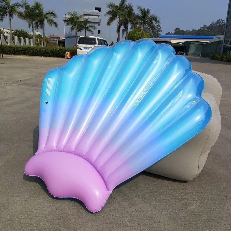 Гигантский фиолетовый и синий Гребешок Shell надувной бассейн для взрослых Летний пляж игрушки водные виды спорта лежак плавающий River Island