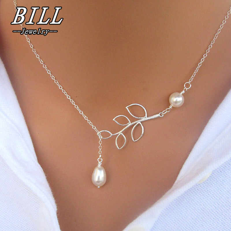 N617 COLLAR COLGANTE de perlas de moda, collar de perlas de imitación de hojas de moda, collar cruzado para mujeres, joyería, regalo, fiesta, 2018
