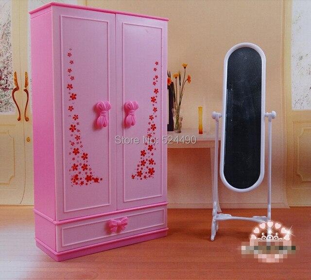 Casa de muñecas muebles mini rosa en el pecho armario ropero + ...