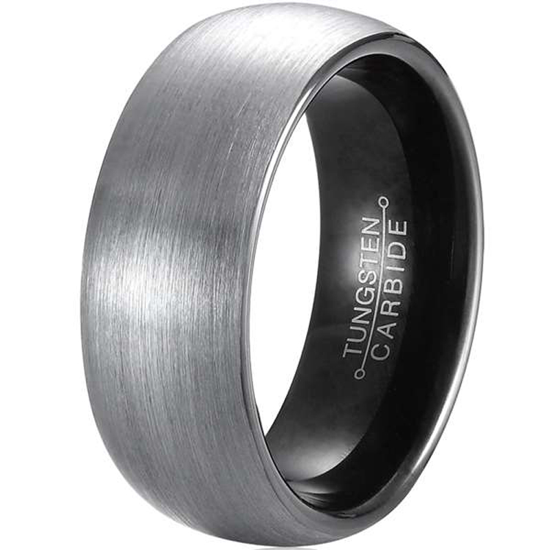 New Arrival 8mm Width Tungsten Rings for Men Women Comfort Fit Black Plated Inside Domed Round Brushed Band Size 7-13