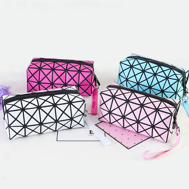 Geometry Hologram Pencils Case for Teenage Girls Women Cosmetic Makeup Bag Big Capacity Pen Box Bts Stationery School Supplies big capacity high quality canvas shark double layers pen pencil holder makeup case bag for school student with combination coded lock