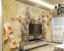 beibehang papel de parede Fashion 3D Stereo Flowers Swan Modern Simple Bedside TV Background Wallpaper wallpaper for walls 3 d(China)