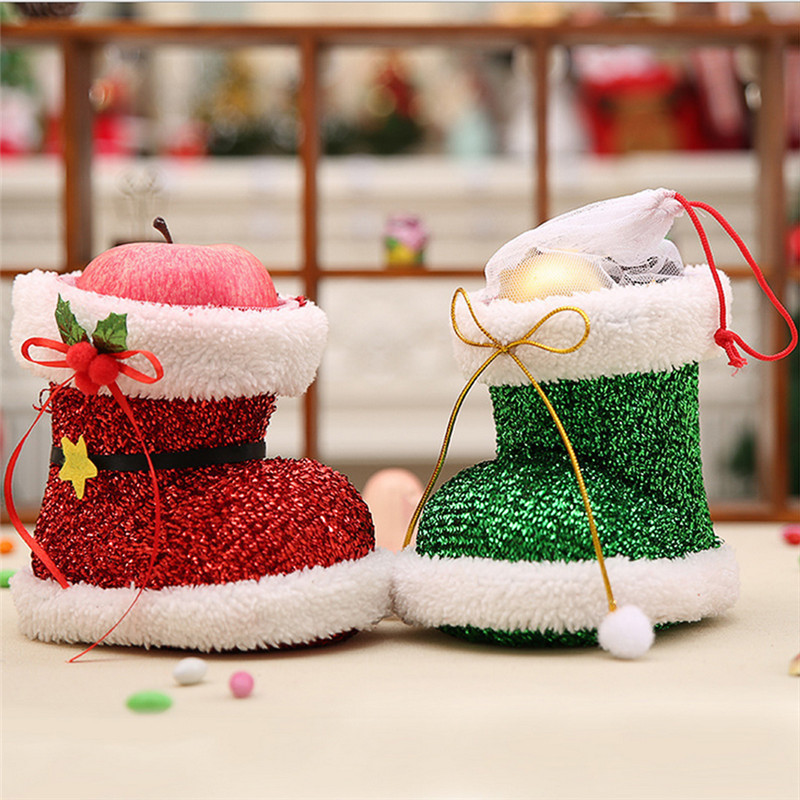 1Pc Flocked Christmas Boots Decoration Supplies for Home Garden Christmas Tree Ornaments Pen Case Christmas Candy Gift Bag 1