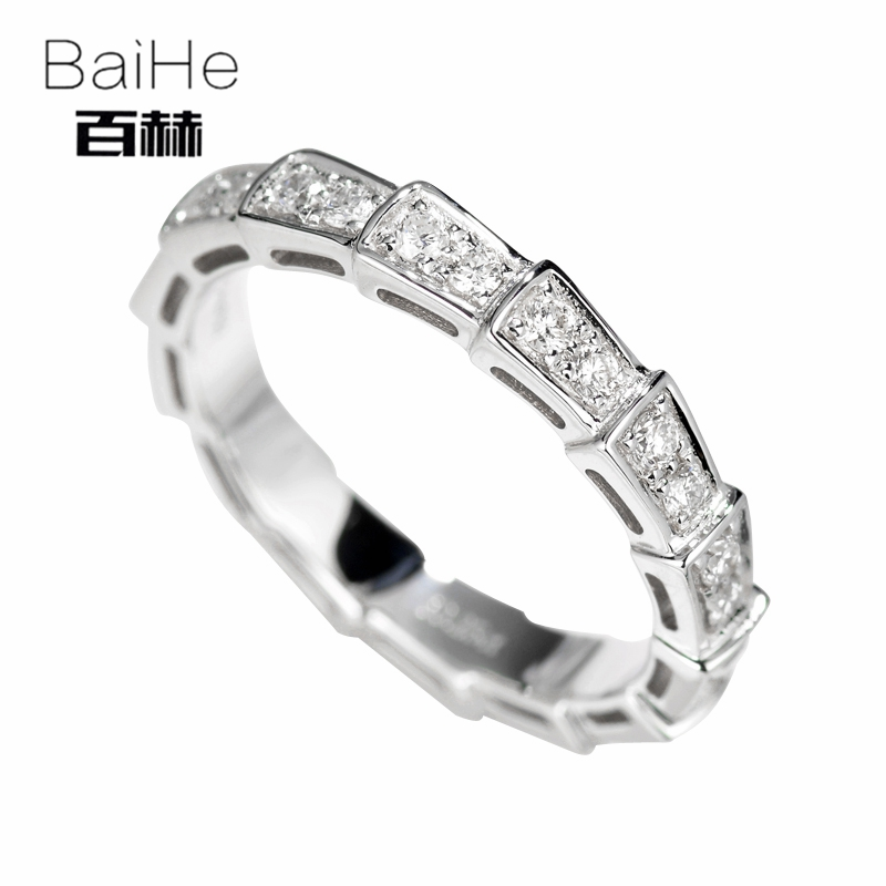 BAIHE Solid 14K White Gold 0.25CT Certified H/SI Round 100% Genuine Natural Diamonds Engagement Women Trendy Fine Jewelry Ring  BAIHE Solid 14K White Gold 0.25CT Certified H/SI Round 100% Genuine Natural Diamonds Engagement Women Trendy Fine Jewelry Ring